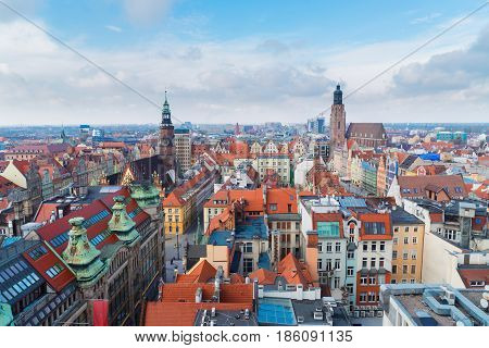 panorama of Wroclaw - bird eye view of colorful roofs of old town houses, Wroclaw, Poland