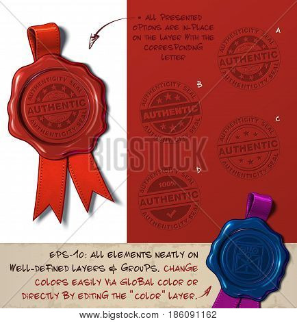 Vector Illustration of a wax seal with a set of stamps regarding Authenticity Stamp subjects. All design elements neatly on well-defined layers and groups