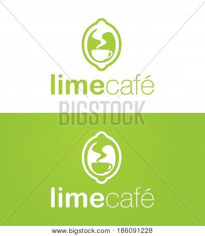 Vector Logo design for a potential coffee house named around the concept of a lime or a lemon. Helvetica rounded and thin fonts were used for the caption.