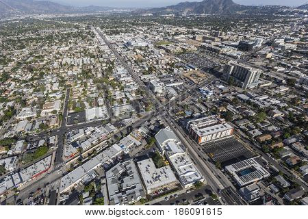 Los Angeles, California, USA - April 12, 2017:  Aerial view of Lankershim and Burbank Blvds in the North Hollywood area of the San Fernando Valley.