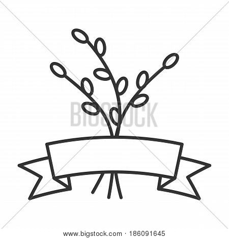 Willow branches with ribbon linear icon. Thin line illustration. Catkins contour symbol. Vector isolated outline drawing