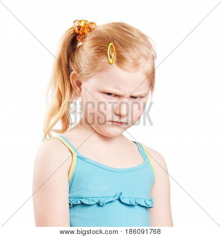 the angry little girl on white background