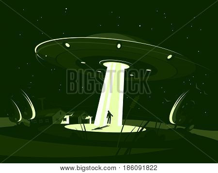 Alien plate abducts man. Spaceship at night. Vector flat illustration