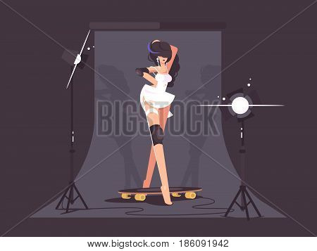 Beautiful fashion model. Photo shoot in studio for advertising. Vector illustration