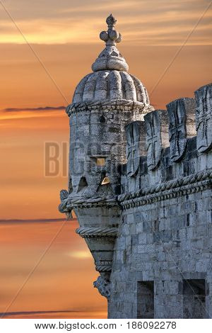Belem tower sunset architectural view, Lisbon, Portugal