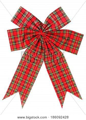 Scottish Christmas bow isolated on white background