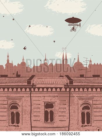 vector landscape with the roofs of the old town cloudy sky blimp and swallows in retro style