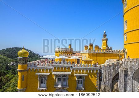 Sintra, Portugal - May 11, 2017: Pena National Palace in Sintra (Palacio Nacional da Pena), Portugal.