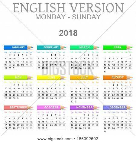 2018 Crayons Calendar English Version Monday To Sunday