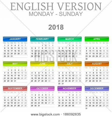 2018 Calendar English Language Version Monday To Sunday