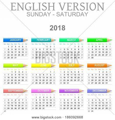 2018 Crayons Calendar English Version Sunday To Saturday