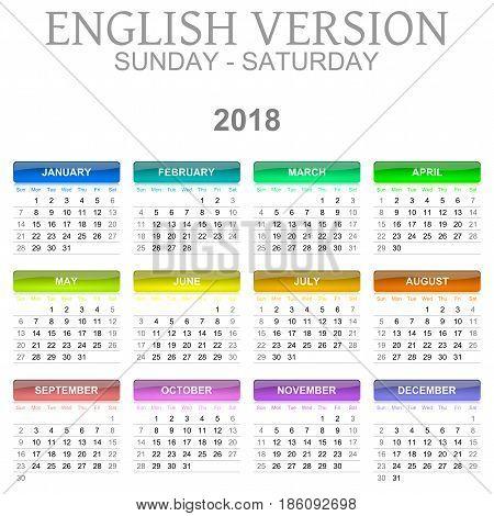 2018 Calendar English Language Version Sunday To Saturday