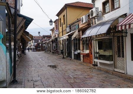 SKOPJE, MACEDONIA - MARCH 9, 2017:  Old town on the eastern bank of the Vardar River in Skopje, Macedonia