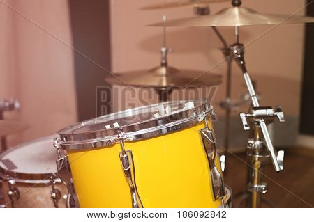 Drums set, professional music equipment in the sound recording studio