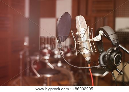 Microphone in a recording studio, professional recording equipment