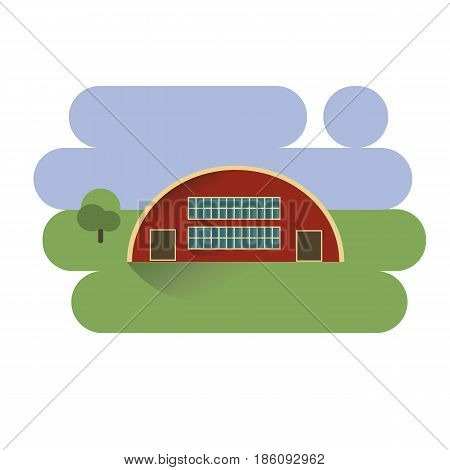 Red hangar house in village icon on blue and green background. vector illustration