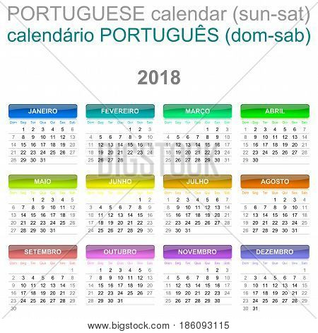 2018 Calendar Portuguese Language Version Sunday To Saturday