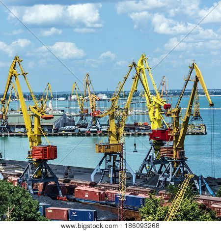 Odessa, Ukraine - May 11, 2017: Container terminal in Quarantine harbor of Odessa sea commercial port