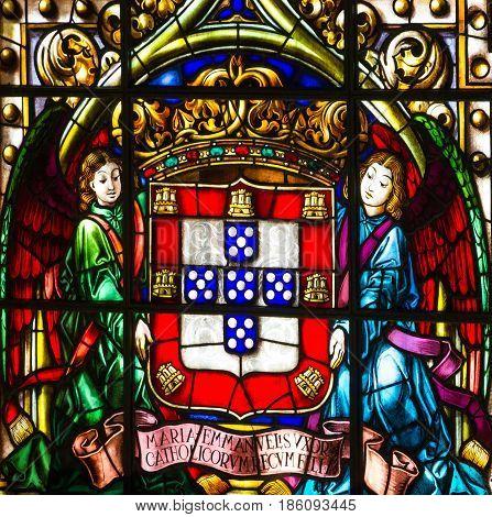 Lisbon, Portugal - May 6, 2017: Vitrage window. Interior of church in Monastery of Jeronimos, Lisbon, Portugal