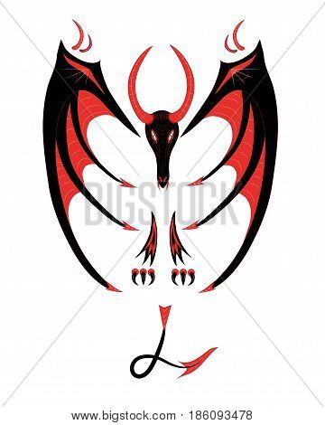 Tattoo of a dragon it is red black on a waist