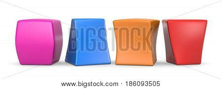 Four Colorful Blank Funny Cubes