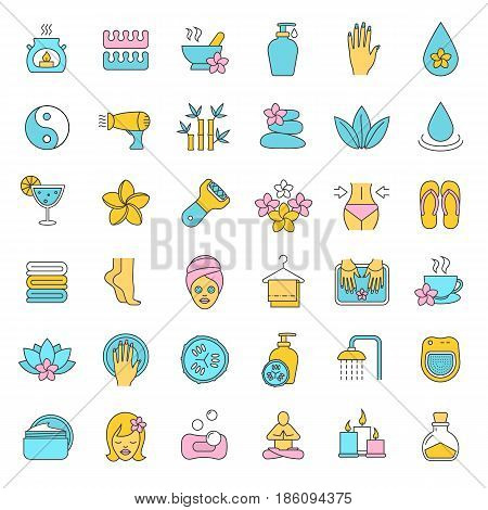 Spa salon color icons set. Aromatherapy. Oil drop, mortar and pestle, foot file, cream, plumeria flower, hairdryer, towels, flip flops, shower, candles. Isolated vector illustrations