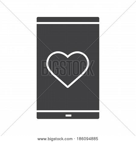 Smartphone dating app glyph icon. Silhouette symbol. Smart phone with heart shape. Negative space. Vector isolated illustration