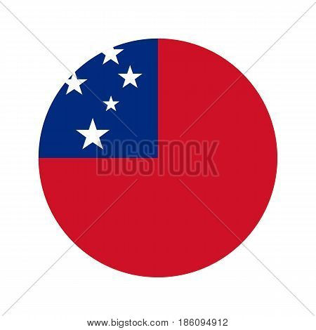 Flag samoa, vector illustration circular shape on white background