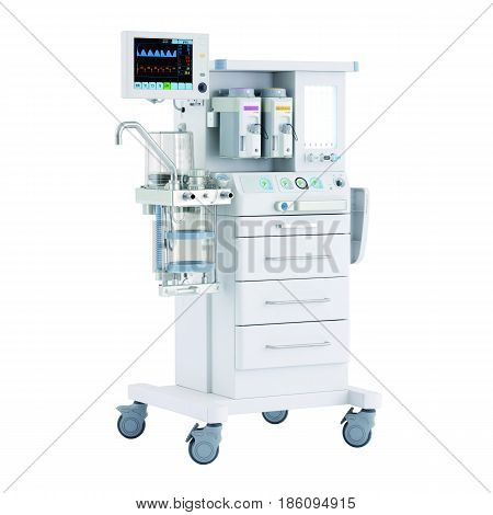 Anaesthetic Machine And Patient Monitoring System Isolated On White. Anaesthesia Workstation With Th
