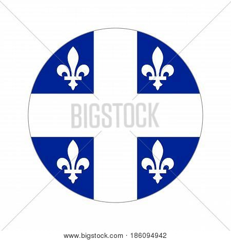 Flag quebec, vector illustration circular shape on white background