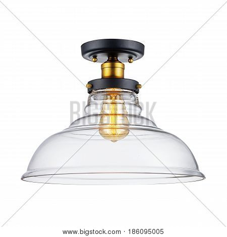 Glass Sconce Isolated On White Background. Bronze Light Fixture With Led Bulb