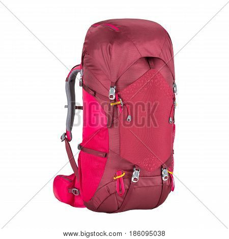 Climbing Bag Isolated On White Background. Trekking Rucksack. Travel Backpack. Rope Bag. Bouldering