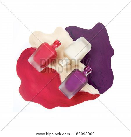 Nail Polish Isolated On White Background. Set Of Bottles Of Lacquer. Nail Lacquer. Collection Of Nai