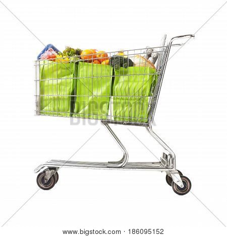 Shopping Cart With Groceries Isolated On White Background. Supermarket Trolley. Shopping Basket Full