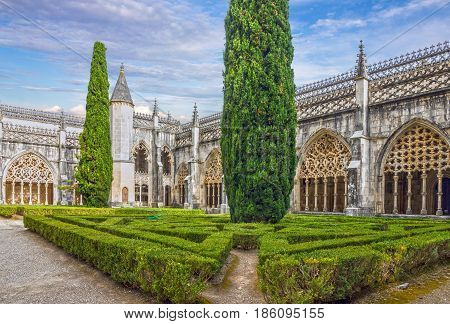 Alcobaca monastery (Mosteiro de Santa Maria de Alcobaca) is a Mediaeval Roman Catholic Monastery Alcobaca, Portugal