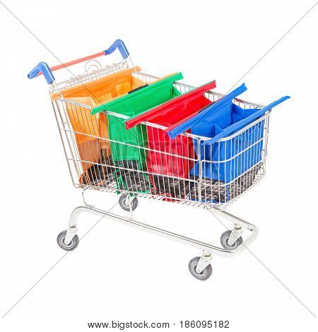 Shopping Cart With Trolley Bags Isolated On White Background. Supermarket Trolley Cart. Shopping Bas
