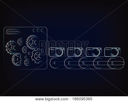 camera production line factory machine with gearwheel mechanism (vector illustration with neon effect on mesh background)