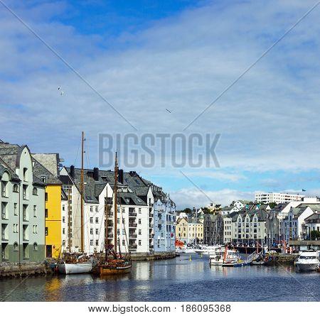 Alesund, Norway - May 7, 2017: Sea view on Alesund harbor, Norway.