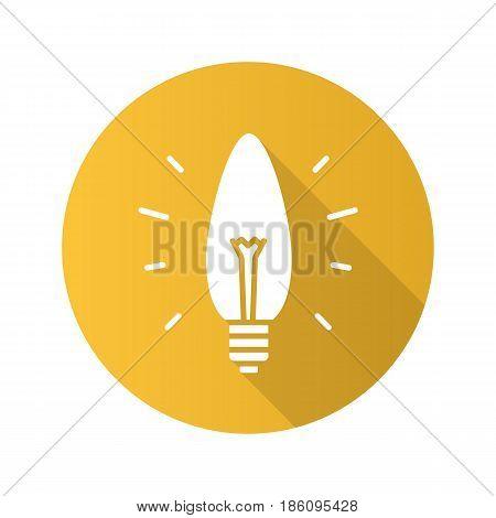 Energy saving lightbulb. Flat design long shadow icon. Economy lamp. Vector silhouette symbol