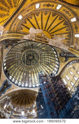 Istanbul, Turkey - May 7, 2017: Interior of Hagia Sophia in Istanbul - greatest monument of Byzantine Culture.