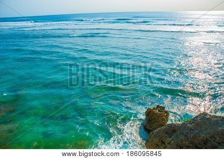 View Of The Cliffs And The Sea In Bali. Indonesia. Uluwatu, Pantai Suluban.
