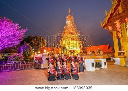 NAKORN PHANOM THAILAND - FEBRUARY 13 2015: Thai northeastern dance in Phutai world event day in Renunakorn of Nakorn Phanom Thailand.