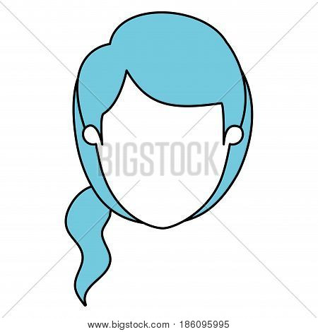 silhouette cartoon front view faceless closeup woman with blue side ponytail hair vector illustration