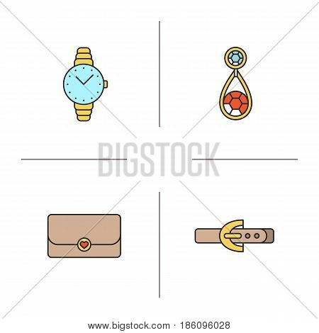 Women's accessories color icons set. Wristwatch, earring, clutch, leather belt. Isolated vector illustrations