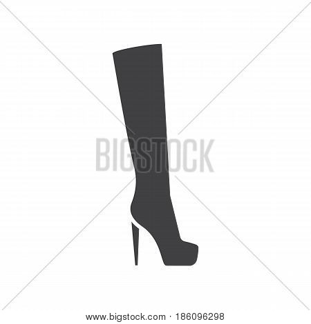 Women's high boot glyph icon. Silhouette symbol. Negative space. Vector isolated illustration