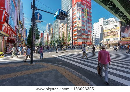 Tokyo, Japan. May 31, 2015. Akihabara in Sotokanda district in Tokyo with unidentified people. Akihabara is popular in Tokyo for its major shopping and manga or anime icons