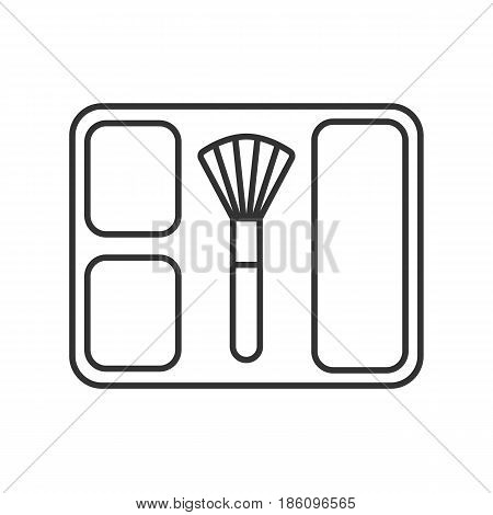 Blusher linear icon. Thin line illustration. Blusher box with brush contour symbol. Vector isolated outline drawing