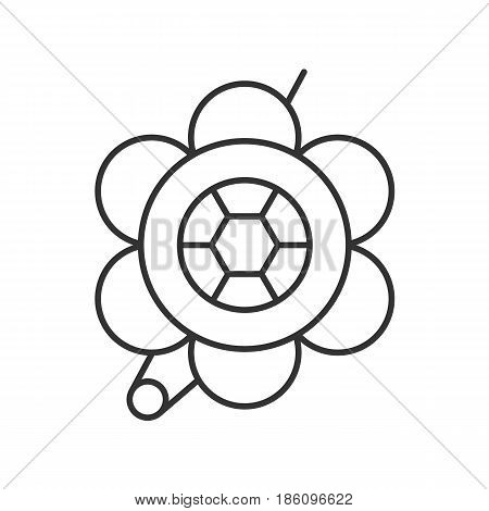 Brooch linear icon. Thin line illustration. Flower shape brooch contour symbol. Vector isolated outline drawing