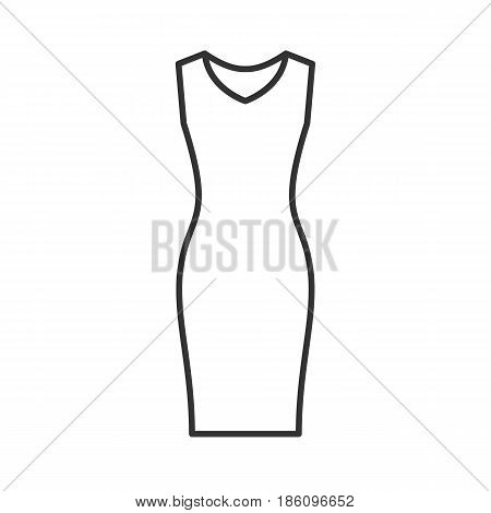 Evening dress linear icon. Thin line illustration. Women's sleeveless gown contour symbol. Vector isolated outline drawing
