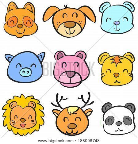 Animal head colorful head doodles vector illustration